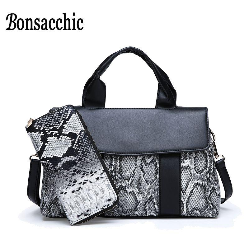7b2bb4198 Compre Bonsacchic Conjunto De Bolsas Das Mulheres Negras Senhoras Bolsas E Bolsas  Sacos De Mulheres De Luxo Designer De Mulher Bolsa De Mão De Couro ...