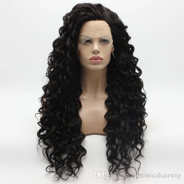 High Quality 2# 180% Density Kinky Curly Long Dark Brown Wigs Half Hand Tied Heat Resistant Glueless Synthetic Lace Front Wigs for Women
