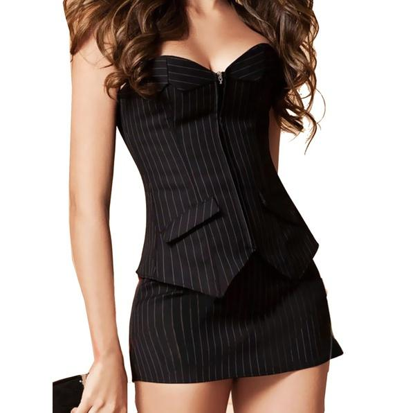 Promithi Sexy Black Pinstripe Overbust Corset Office Lady Lace up Bustier Costume Dress