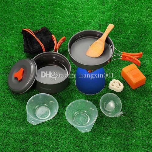 10Pcs Portable Outdoor Camping Cookware Cooking Picnic Bowl Spoon Pot Pan Set UK