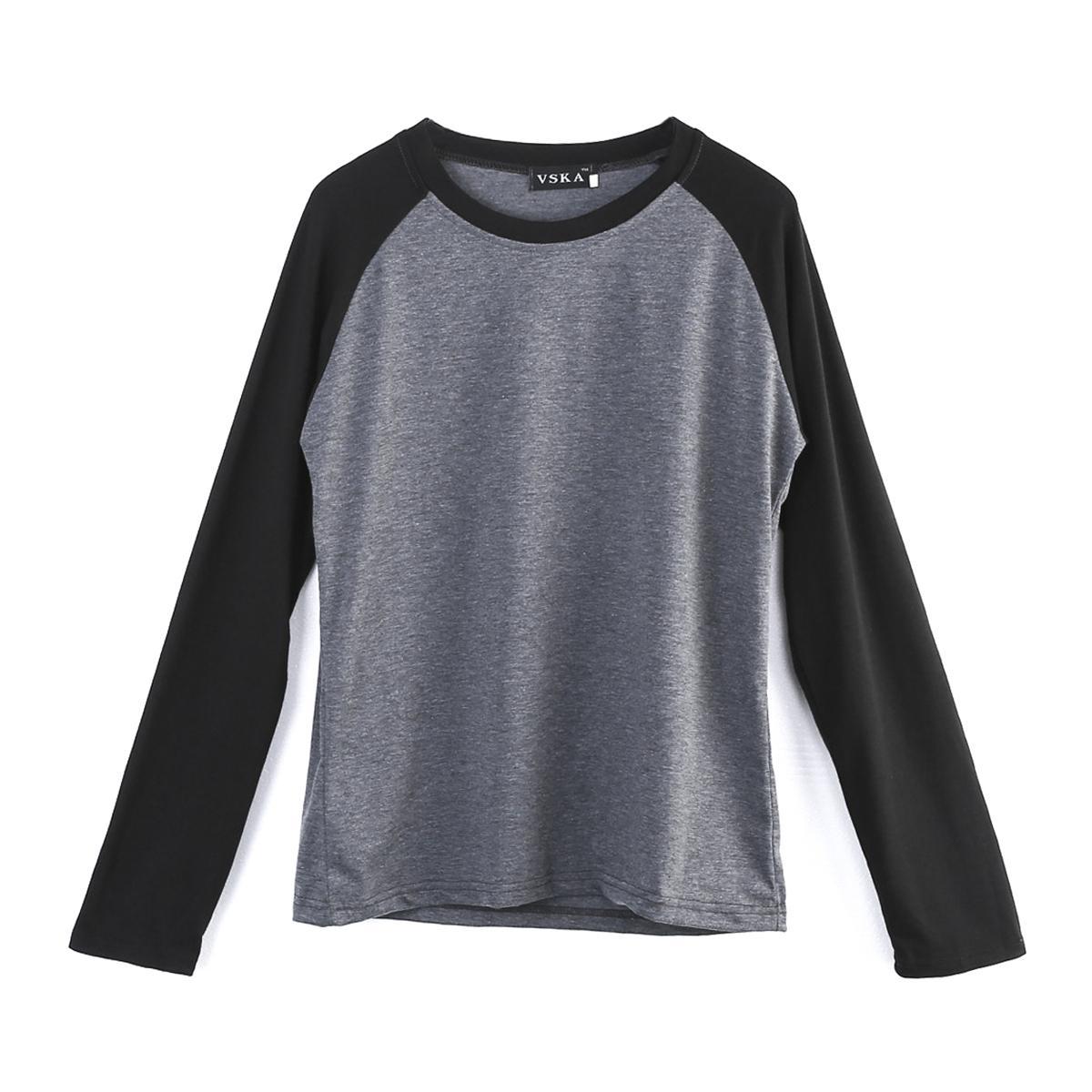 Tişörtler Uzun Kollu Düz Beyzbol Raglan Tişört Tee Erkek Spor Takım Running 5 Renk R Boyun U