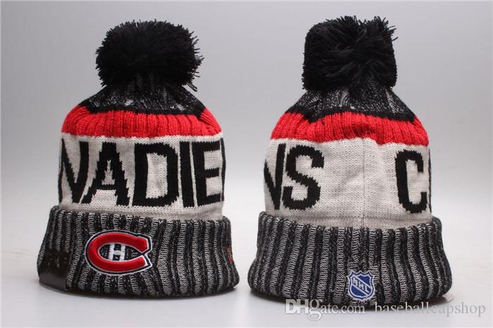 d2227f48d32 2019 NEW Men S Montreal Canadiens Knitted Cuffed Pom Beanie Hats LA Striped  Sideline Hockey Team Beanie Cap Black Color Bonnet Beanies Skull Hat From  ...