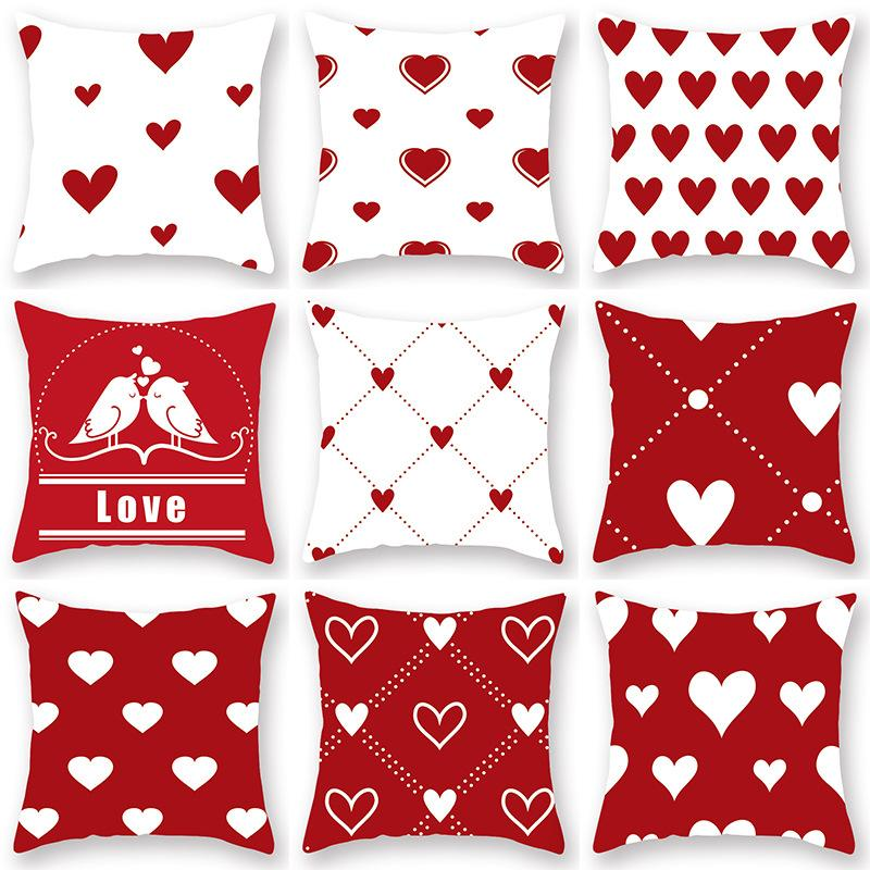 Home Valentines Day Love Pillow Cover Red Geometry Pillow