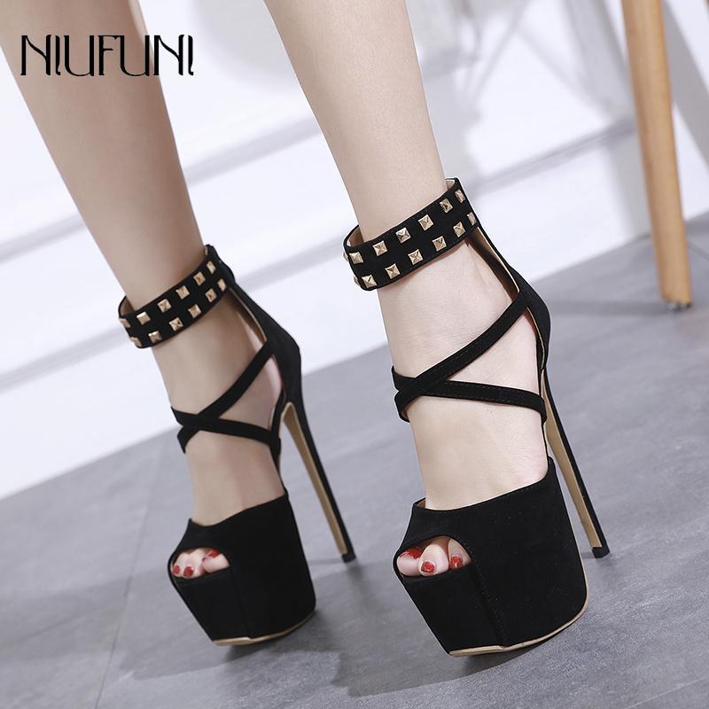 1e196b9c18e0 New Sexy Women High Heels Sandals 16cm Fashion Ankle Strap Shoes Party  Pumps Shoes Women Platform Sandals Rivet Decor Back Zip Wedge Shoes Womens  Sandals ...