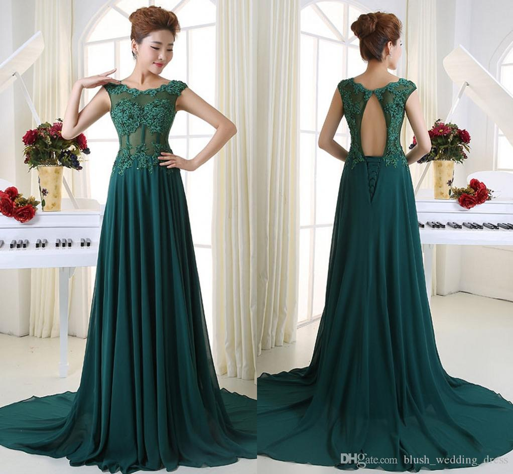 High Quality Free Shipping Green Lace Applique Word Shoulder Bridesmaid Prom Dresses Long Tail Back Small Hollow Bandage Evening Dresses