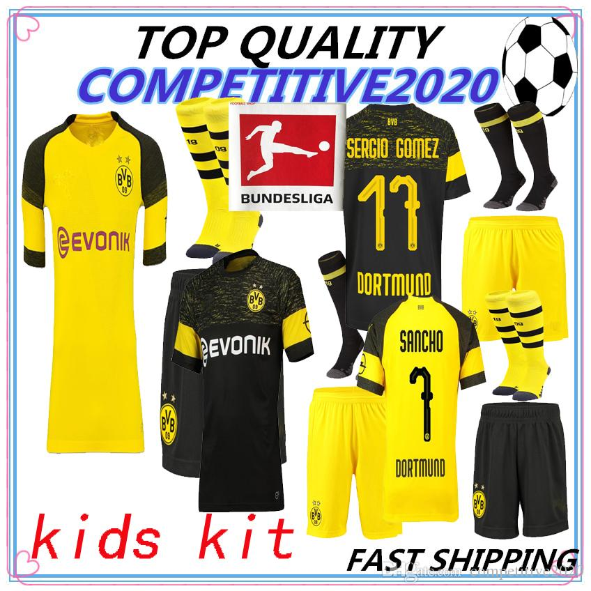 Compre KIDS KIT Tailandia Calidad BVB Borussia Dortmund Soccer Jersey 2018  2019 PHILIPP GOTZE REUS PULISIC WITSEL 18 19 PACO ALCACER Camiseta De Fútbol  A ... 937266183ac