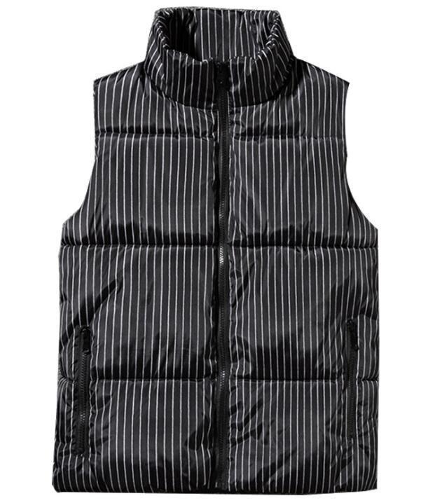 Weste Gestreifte Baumwolle Herren schwarz blau Jean ärmellose Kapuzenjacke Westen Winter Leder Daunen Fleece Weste Jacken für Männer gedruckt