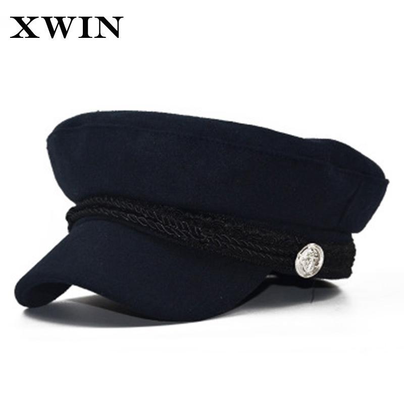 6f6eb6267 XWIN New Fashion Black Hat Cap Women Casual Streetwear Rope Flat Cap  Elegant Solid Autumn Winter Warm Beret Hat Female