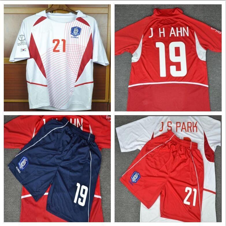 sale retailer 964c4 ac26d World Cup Retro jerseys 2002 World cup south korea home Away White short  sleeve Ahn Jung-Hwan Park Ji-Sung jersey shirt