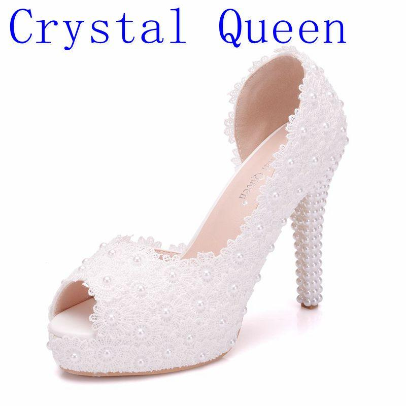 Wholesale Women Sweet White Flower Lace Platform Peep Top High Heels Pearls Wedding  Shoes Bride Dress Shoes11CM Pumps Online with  80.16 Pair on Yigu008 s ... 8ce9bd2bda53