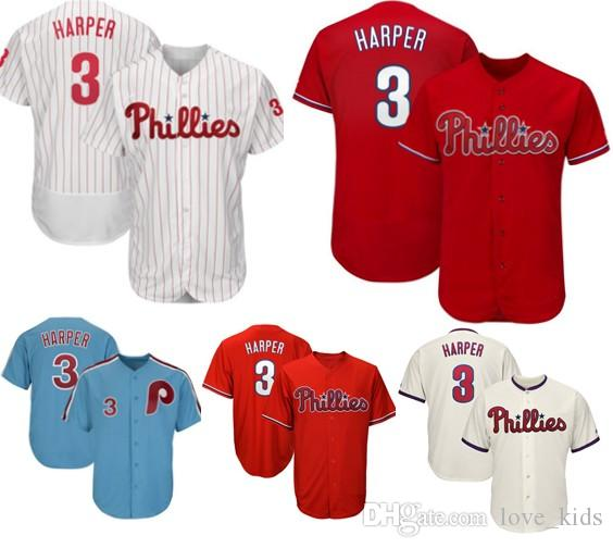 45c9d4644ab 2019 3 Bryce Harper Philadelphia Phillies Baseball Jersey 2019 New 3 Harper  Mesh Retro Majestic Alternate Official Cool Base Player Jerseys From  Love kids