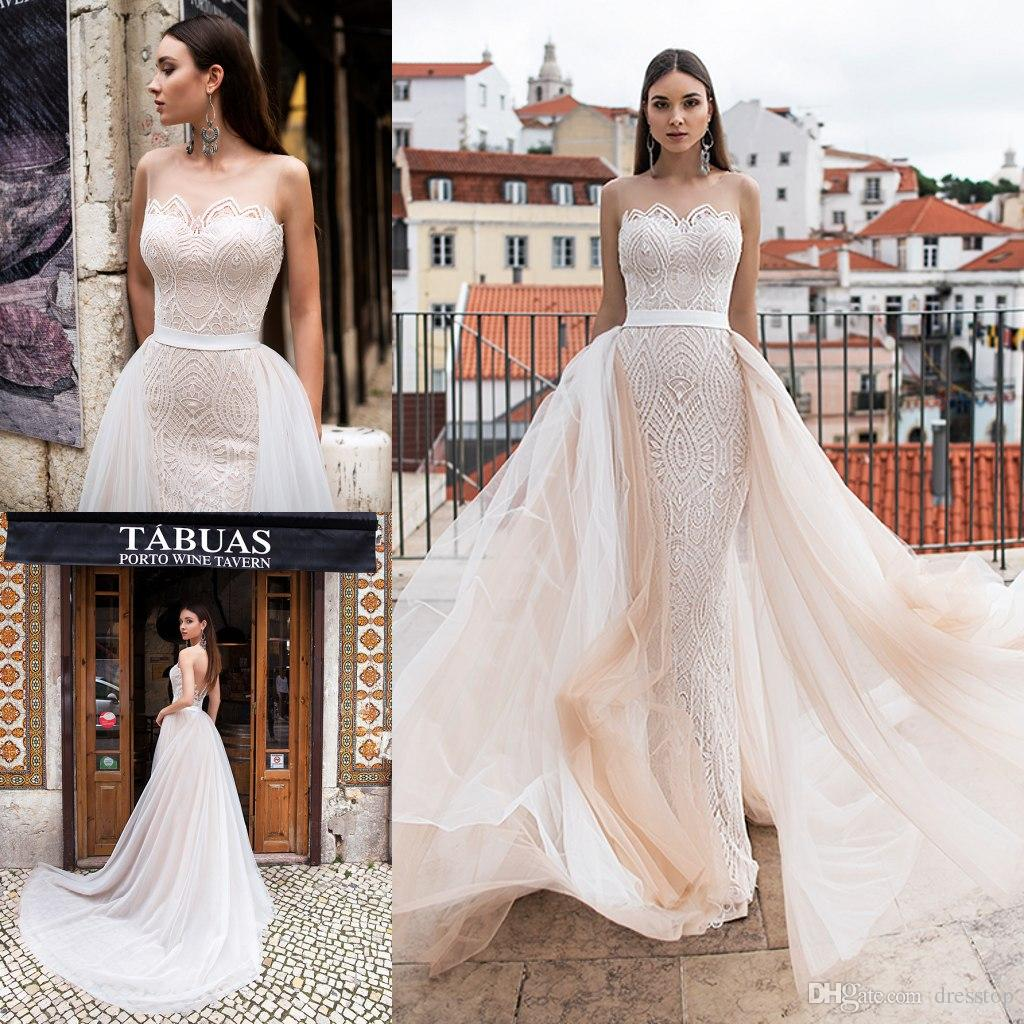 a49b053893a Discount Elegant 2019 Mermaid Wedding Dresses With Detachable Train Sheer  Neck Lace Bridal Gowns Slim Fit Boho Beach Wedding Dress Custom Wedding  Lace ...