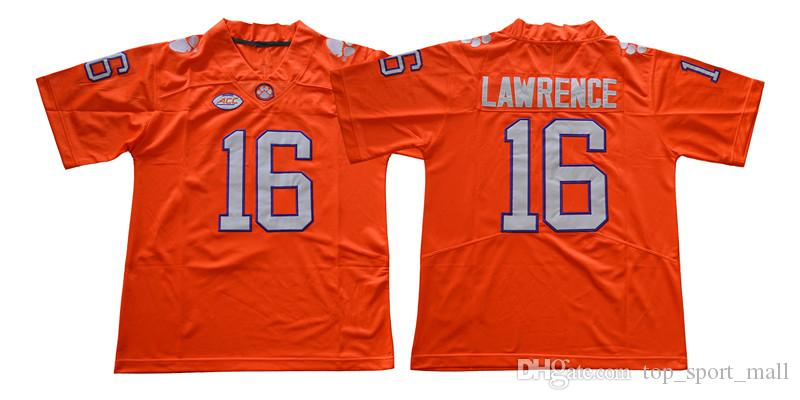 2019 NCAA College Football Clemson Tigers 16 Trevor Lawrence Jersey 9  Travis Etienne Jr Orange Purple White Men Stitched Good From  Top sport mall 78c7ca208