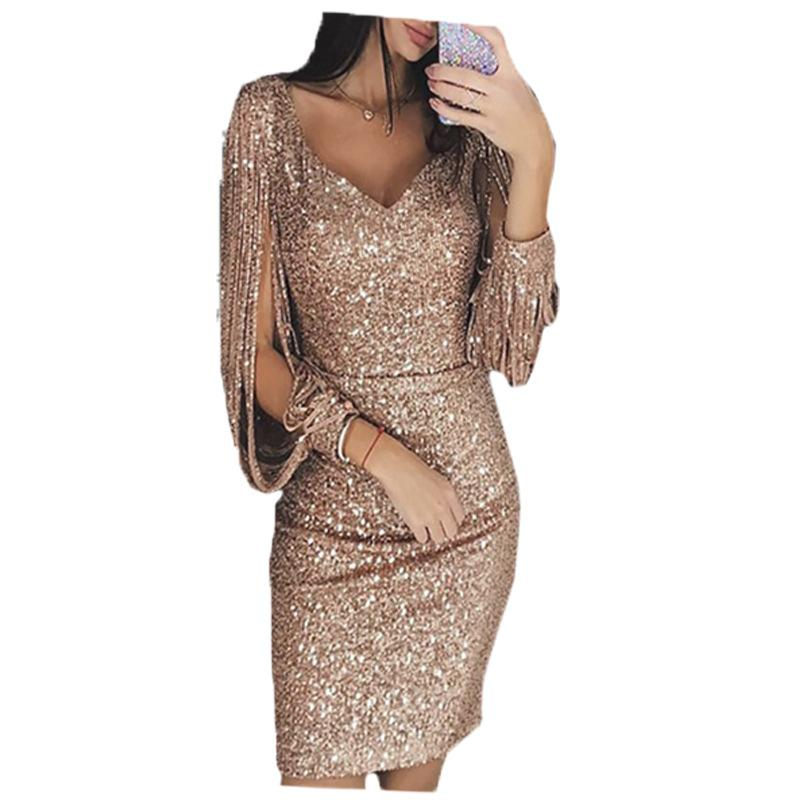 Try Everything Gold Sexy Dress 2018 Women Fringes For Dresses Sexy Sequin  Dress Long Sleeve Party Dresses For Women Beaded Dress Couture Dresses From  ... 8600f3a33a3d