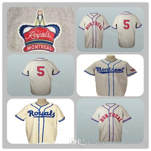 online retailer 5e8e2 f6040 Vinatge Montreal Royals Old School Road Flannels 9 Jackie Robinson Jersey  1946 Gray 5 Roberto Clemente 1954 Cream Baseball Jerseys Custom