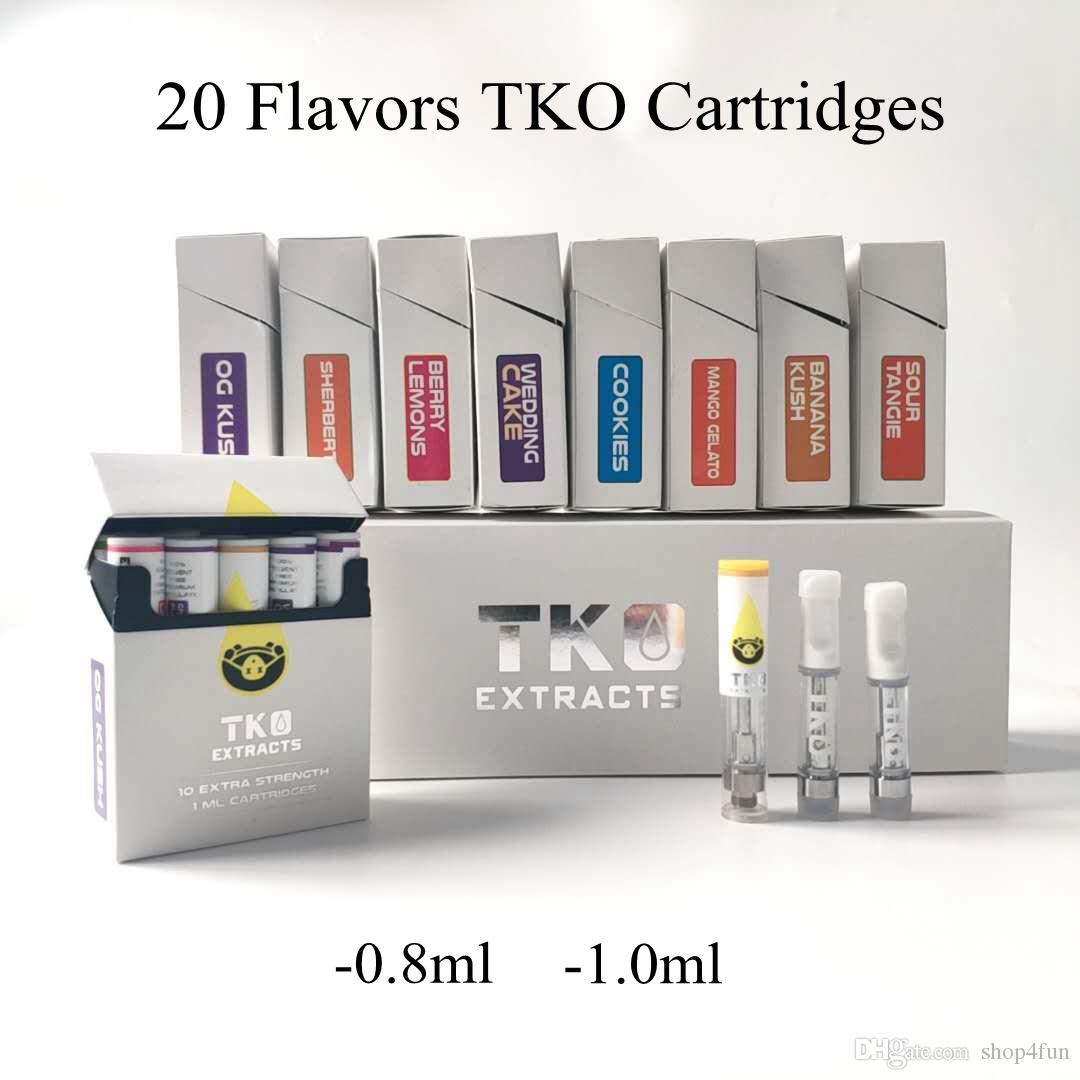 TKO Extracts Vape Cartridges 0 8ml 1ml Ceramic Glass Tank TKO Carts Empty  Vape Pen Cartridge Packaging Ecig Vaporizer For 510 Thread Battery