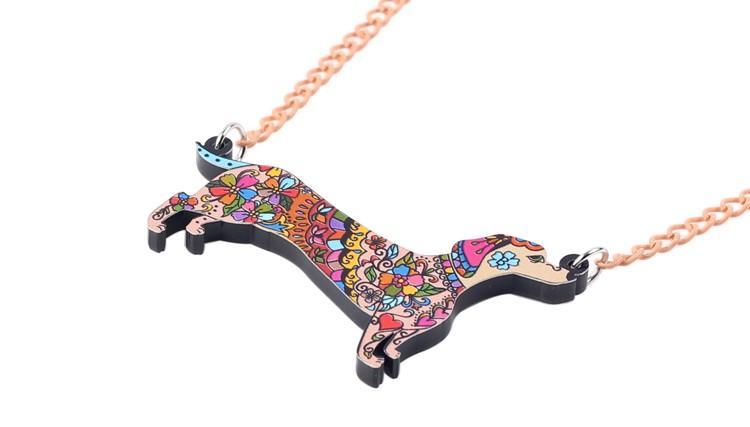 Bonsny Marca Conjuntos de Joyería Declaración de Acrílico Collar de Perro Dachshund Pendientes Collar de Gargantilla Joyería de Moda Para Mujeres Chica