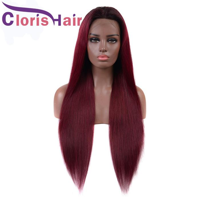 Pre Plucked 99j Burgundy Lace Front Wigs Glueless Brazilian Straight Human Hair Wig For Black Women Colored Wine Red Braided Full Lace Wig