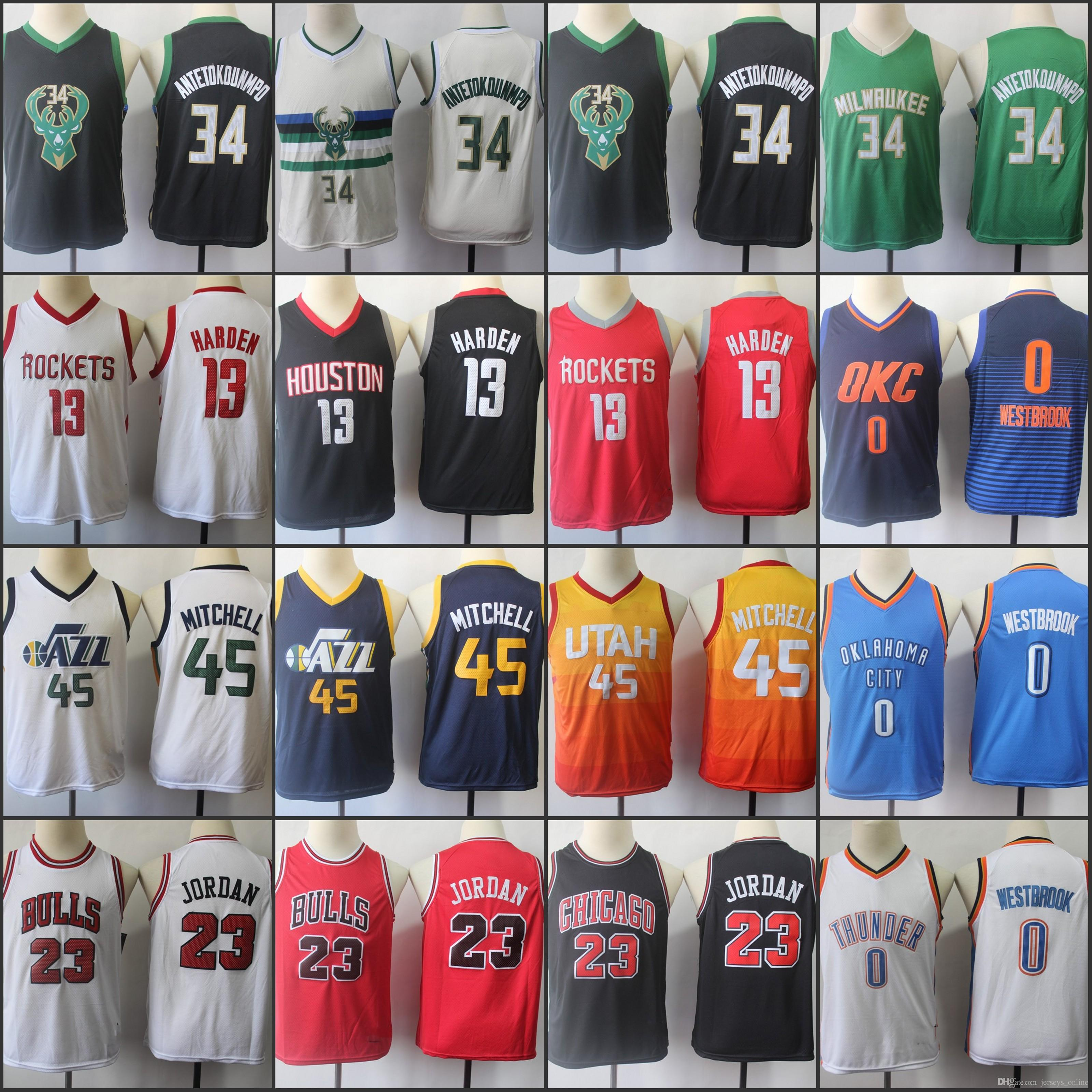 d90bb391eef0 2019 Youth Kids Donovan 45 Mitchell James 13 Harden 0 Westbrook Iannis 34  Antetokounmpo 23 Michael JD Jersey 01 From Jerseys online