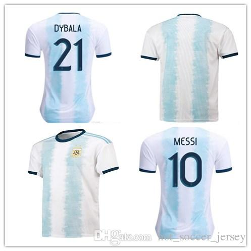 Argentina 2019 Copa America Soccer Jersey Home Blue White Soccer Shirt Messi Dybala Football Uniform More 10pcs Free DHL Shipping