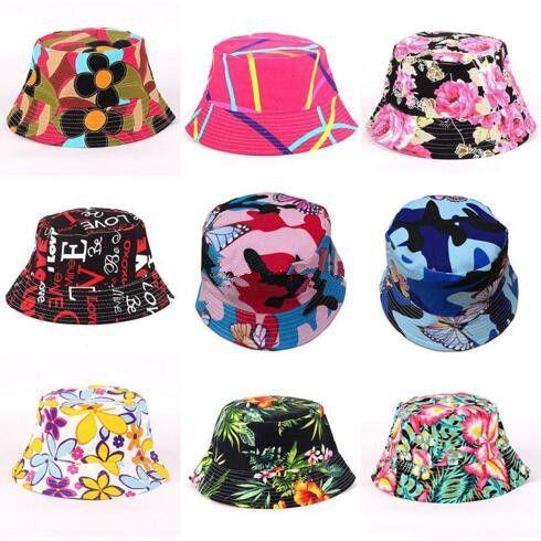 7bb9823462b056 2019 Floral Bucket Hats For Women Big Children Sun Hats Print Outdoors Caps  2019 Summer Beach SunHat Girls Flower Bucket Hat 27 Styles B11 From  Start_baby, ...