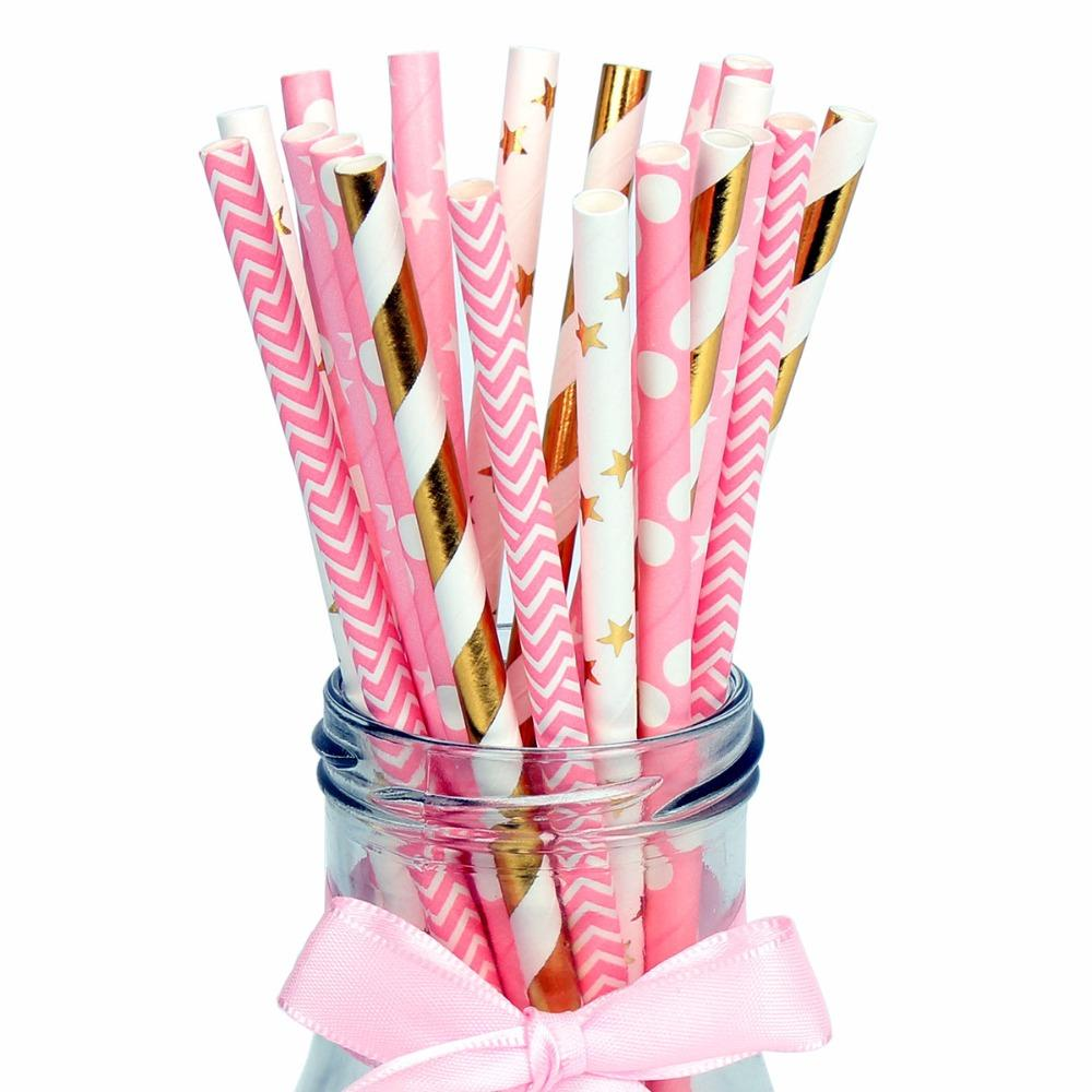 Heronsbill Paper Drinking Straws Baby Shower Boy Girl Birthday Wedding Party Decorations Kids Adult Table Supplies Gold