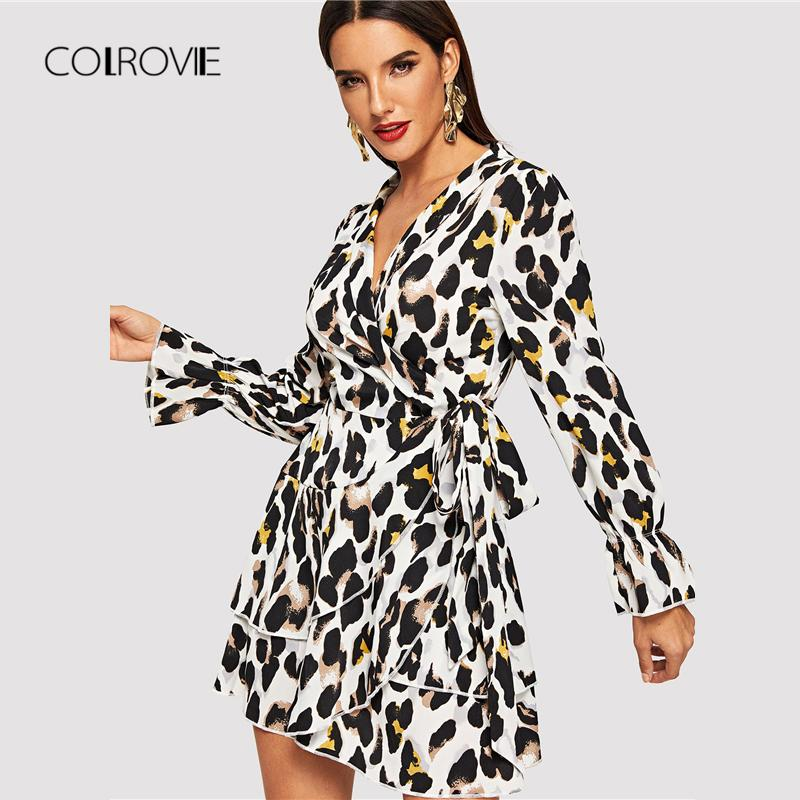 b9df3ebc9 COLROVIE Leopard Print Shawl Collar Layered Belted Sexy Dress Women 2018  Autumn Flounce Long Sleeve Elegant Party Mini Dresses Coctail Dresses  Bridesmaids ...