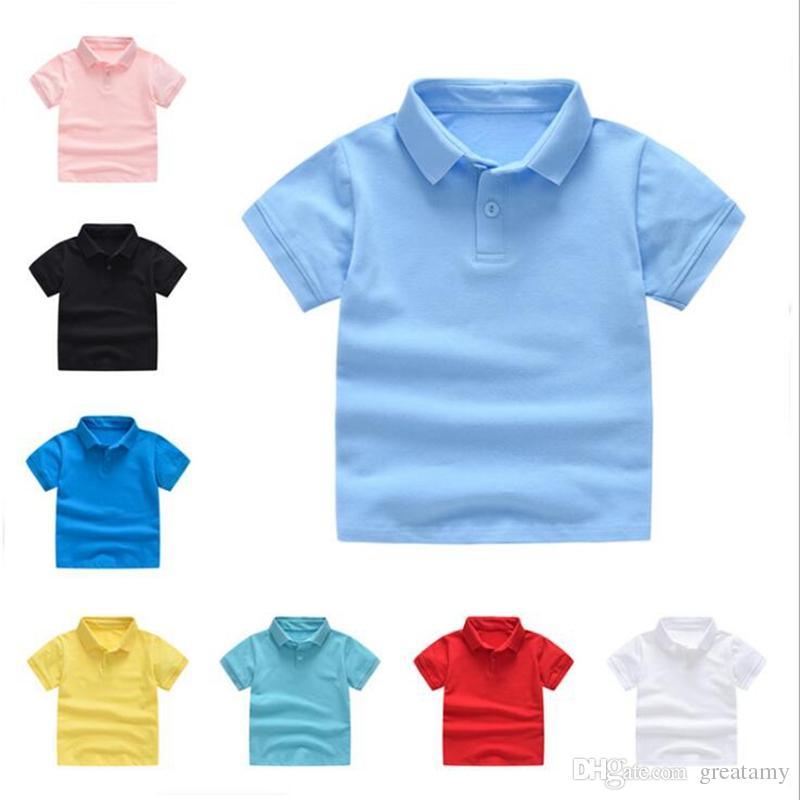 50a480c6240 Compre Crianças Roupas Meninos Camisetas Bebê Verão Tops Camisas Polo  Uniforme Meninas Da Criança De Manga Curta Tees Moda Clássico Roupas De  Bebê De ...