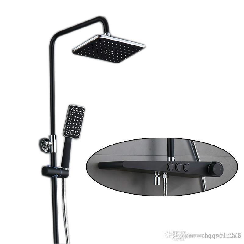 Sensational Bathroom Shower Set Mixer Black Bathroom Shower Faucet Bathtub Faucet Sets Taps Shower Head Wall Mixer Torneira Tap Home Interior And Landscaping Eliaenasavecom