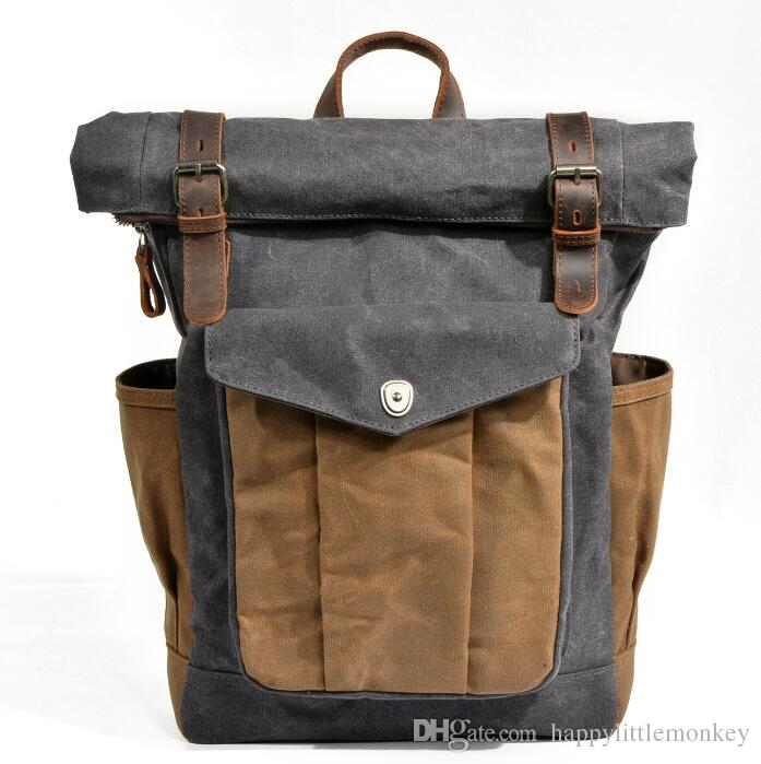 b4e00ed02f7c Europe And America Vintage Crazy Horse Leather Bag High Quality Portable  Waterproof Backpack Oil Wax Canvas Travel Laptop Bag Men S Backpack Wheeled  .