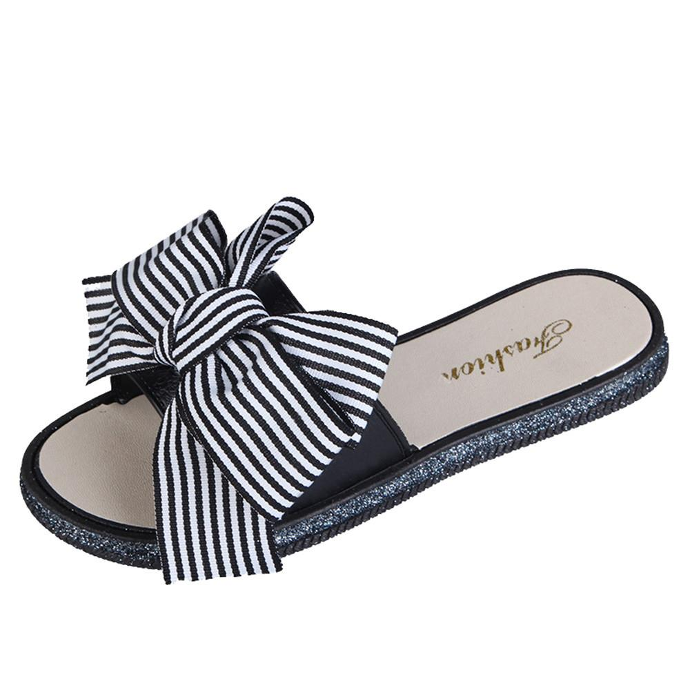 d96514241359e 2019 Summer Women's Slipper Fashion Stripe Lady Bow Round Toe Flat Heel Slipper  Lady Beach Shoes Female Shoes Summer