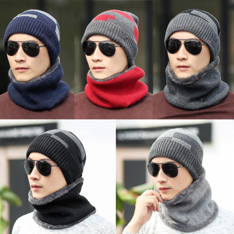 패션 겨울 모자 스카프를 들어 여성 남성 두꺼운면 겨울 액세서리 세트 여성 남성 비니 스카프 2 조각 / 설정