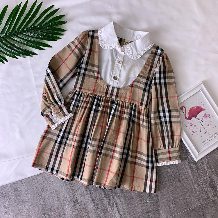 9a82f96f623 2019 Skirt Girls Baby Designer Clothes Summer New Pattern Lapel Children  Pure Cotton Lattice Dress Summer Wear From Zhenpai7