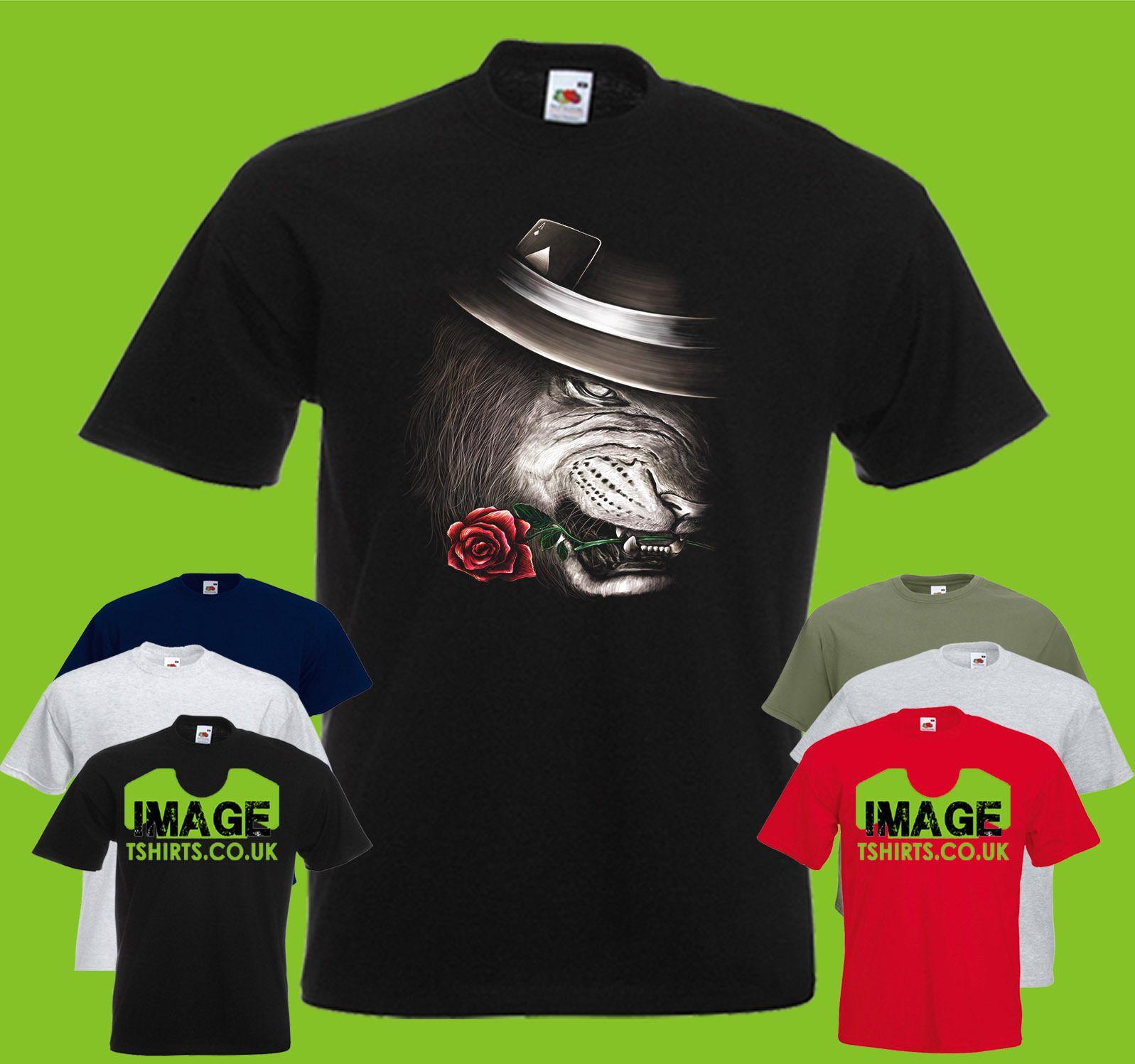 The Conjurer Mens Printed T Shirt Lion Rose Cards Hat Magic Paint