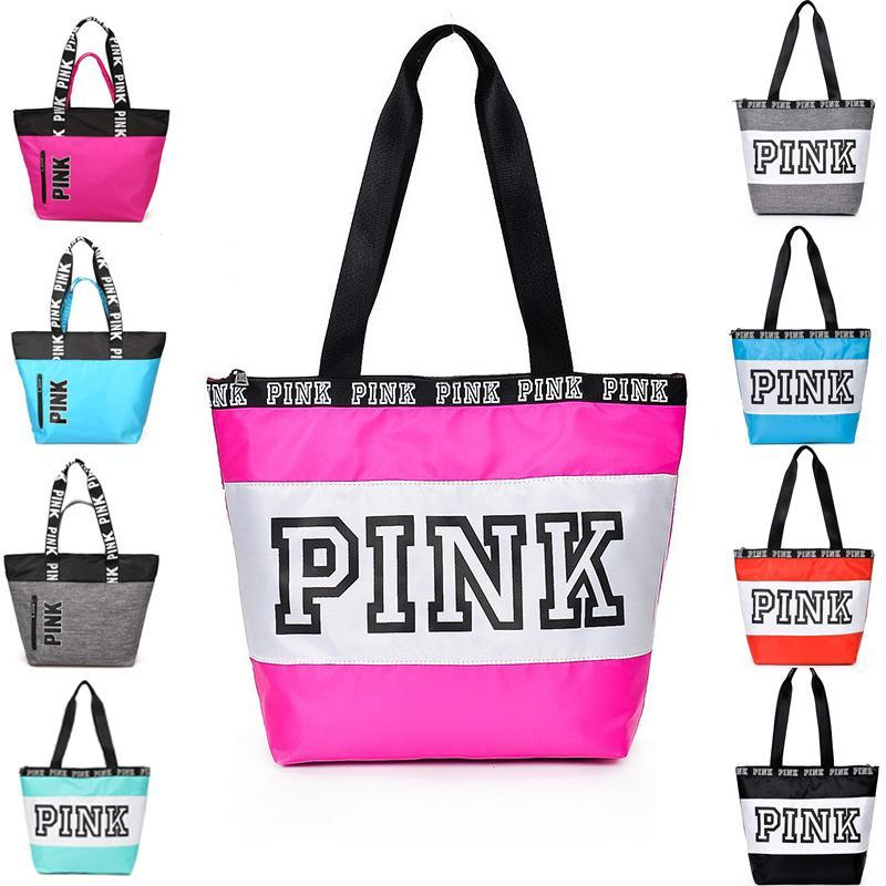 730db6765932a8 Handbag Pink Letter Shoulder Bags Pink Purse Totes Travel Duffle Bags  Waterproof Beach Bag Shoulder Bag Shopping Bags K2457