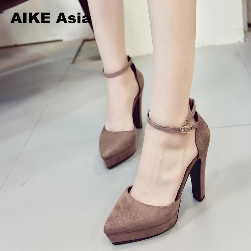 eb8fcf33ba1ff7 Women Pumps Sexy High Heels Summer Suede Ladies Thick Heel Ankle Strap Open  Toe Peep Toe Gladiator Sandals Zapatos Mujer Shoes For Men Womens Shoes  From ...