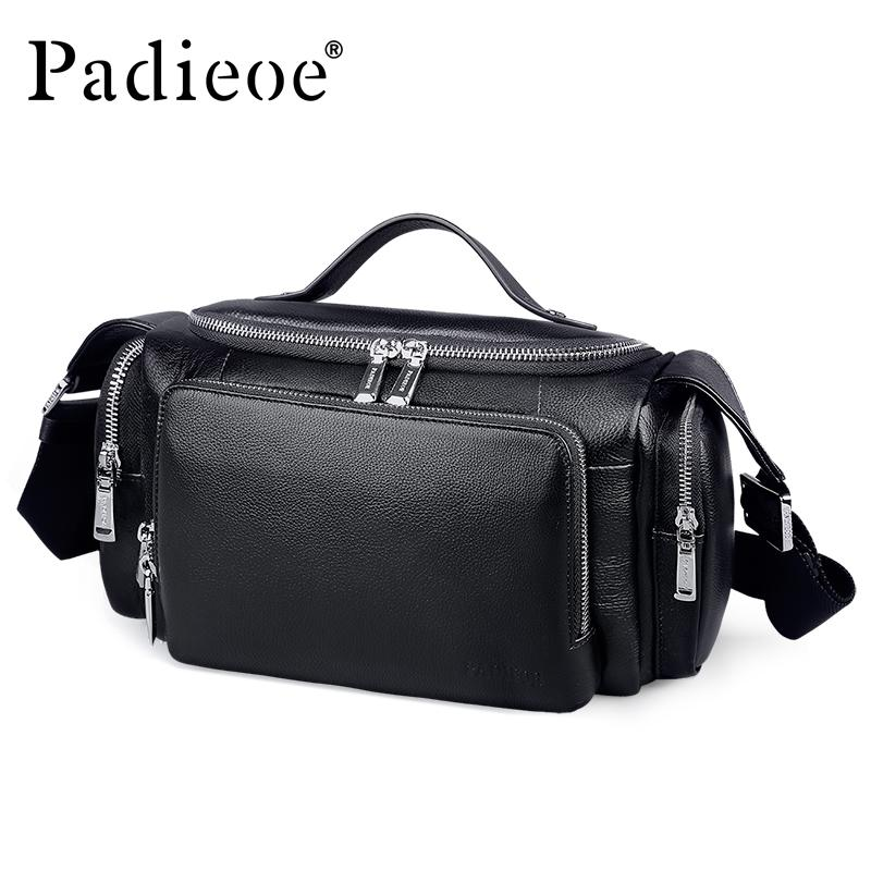 Padieoe Men's Large Capacity Genuine Leather Travel Bags Durable Man Travel Bags Hand Luggage Leather Large Shoulder Weekend Bag