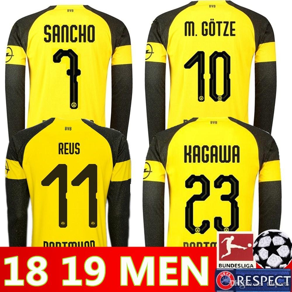 Dortmund Long Sleeve Home Soccer Jerseys 18 19  11 REUS Home Yellow Soccer  Shirt 2019 Customized  22 PULISIC  10 M.GOTZE Football Uniform UK 2019 From  ... 8477ff26a