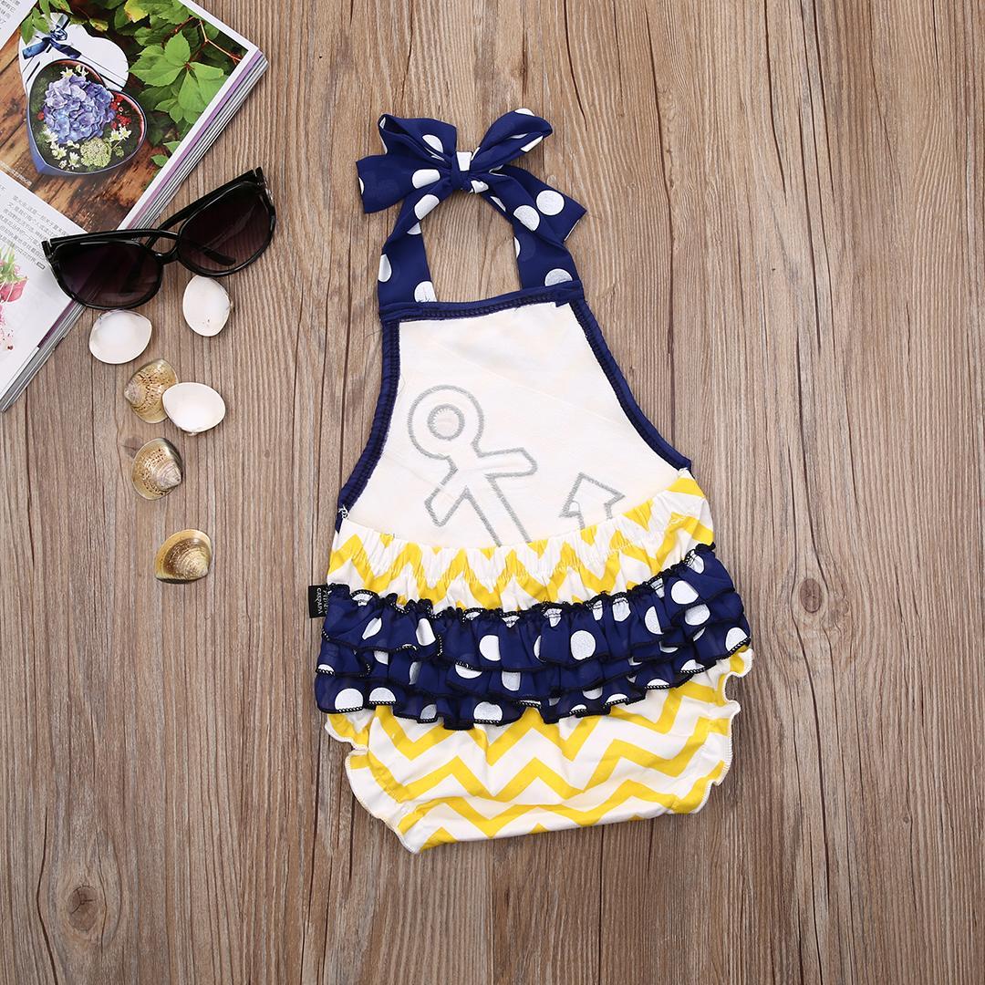 Новорожденный новорожденных девочек одежда якорь якорь вышивка Ромпер полосатый рюшами маленькая девочка мальчик комбинезон Комбинезон