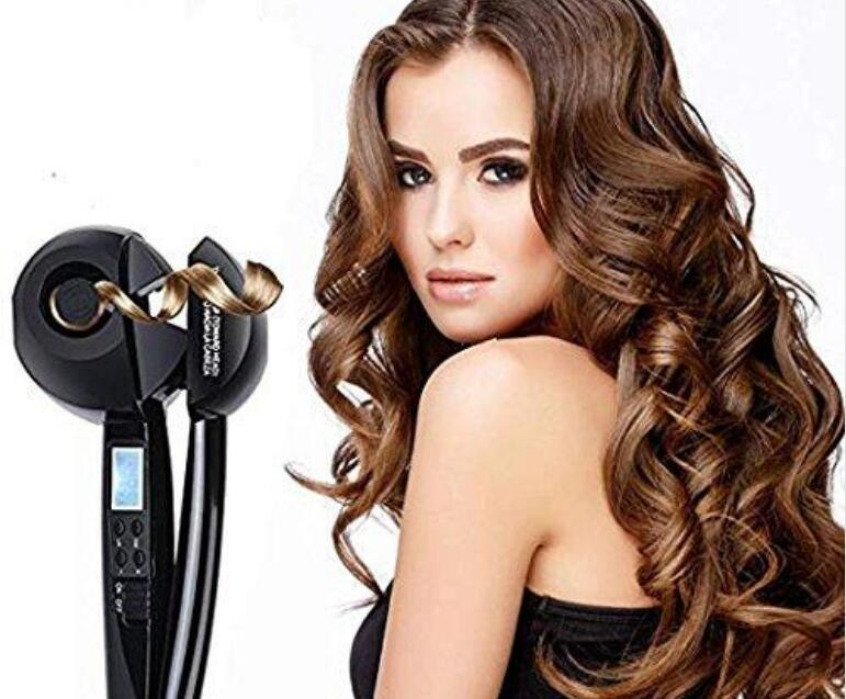 Hair Curler, Professional Hair Steam Curlers Auto Curl Ceramic Curling Iron Wand Salon Rollers Hair Care Steamer Spiral Tools(Black)
