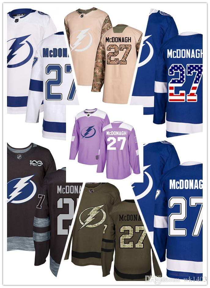 brand new ae8cc 046cc Tampa Bay Lightning jerseys #27 Ryan McDonagh Jersey hockey men women youth  white royal blue Stiched authentic USA Flag fashion Jerseys