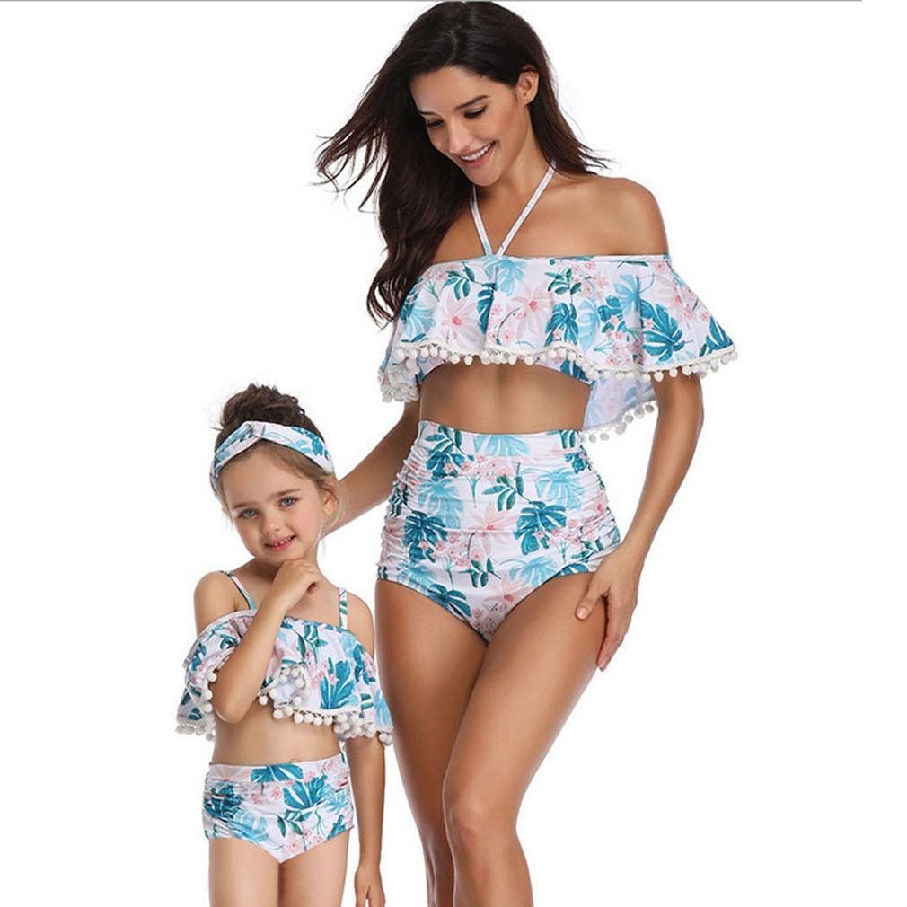 Family Matching Swimwear Mother Daughter Women Kids Floral Leaf Tassel Off-Shoulder Bikini Set Beachwear Swimsuit