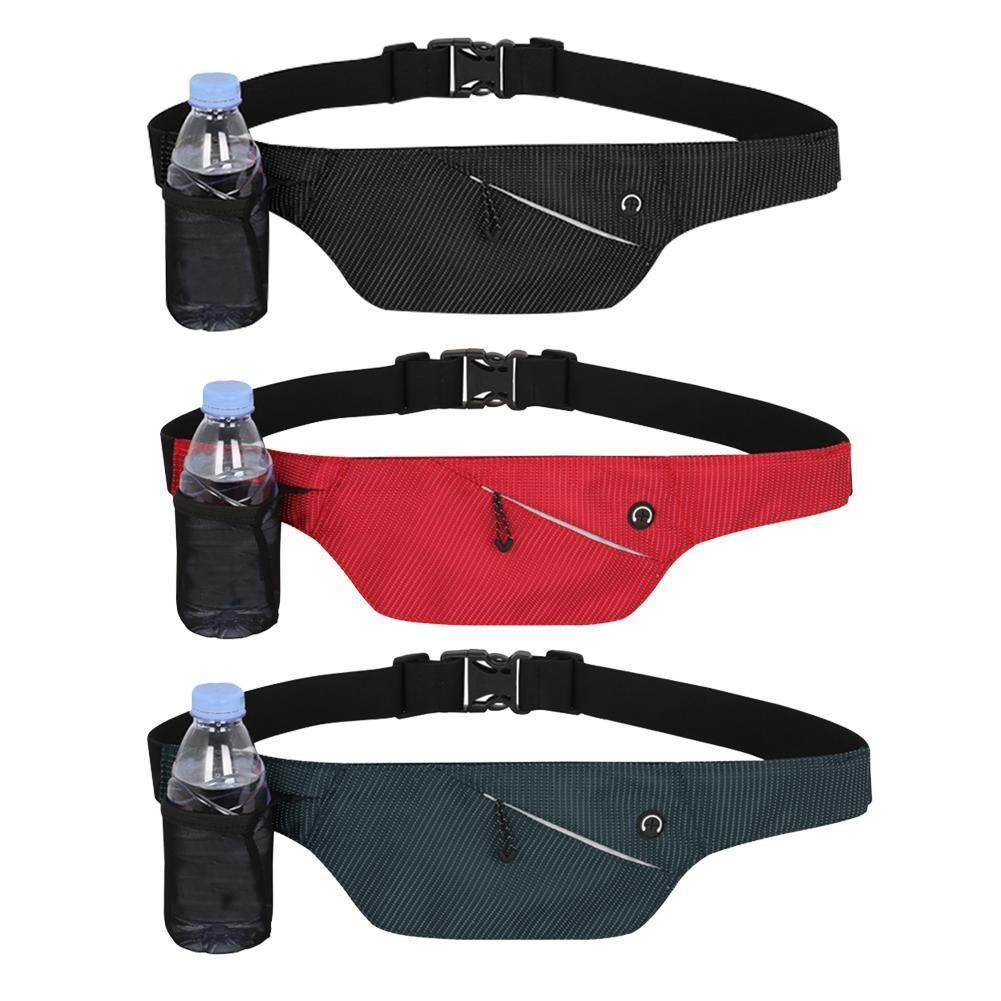 Unisex Waterproof Waist Packs Pocket Belt With Water Bottle Bag Running Marathon Yoga Hiking Cycling Travelling Waist Pack Pouch