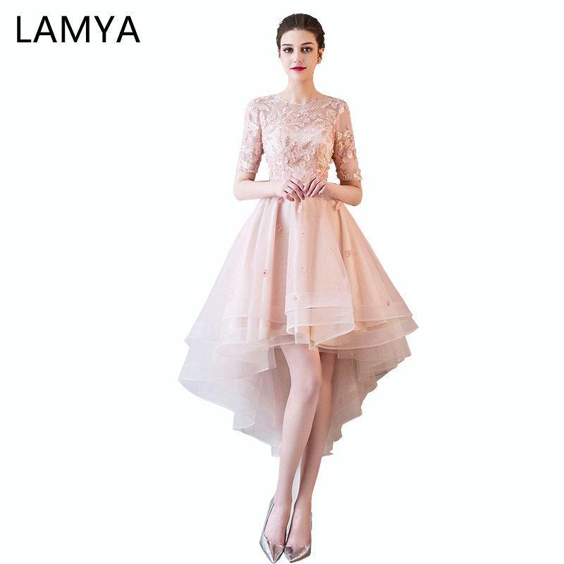e4e70b7d5aac28 LAMYA Pink Appliques Front Back Long Tail Banquet Prom Dresses Short ...