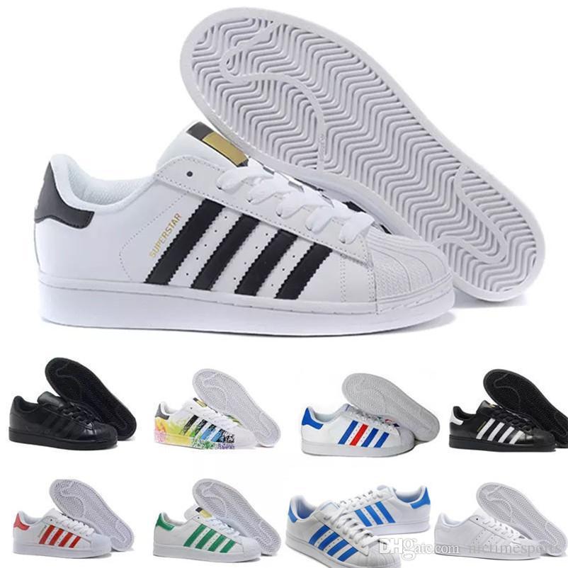 c77c16c856d Compre 2018 Originales Superestrellas Zapatos Super Star Mujer Hombre Negro  Oro Blanco Holograma Superstars Junior 80s Pride Sneakers Zapatillas  Deportivas ...