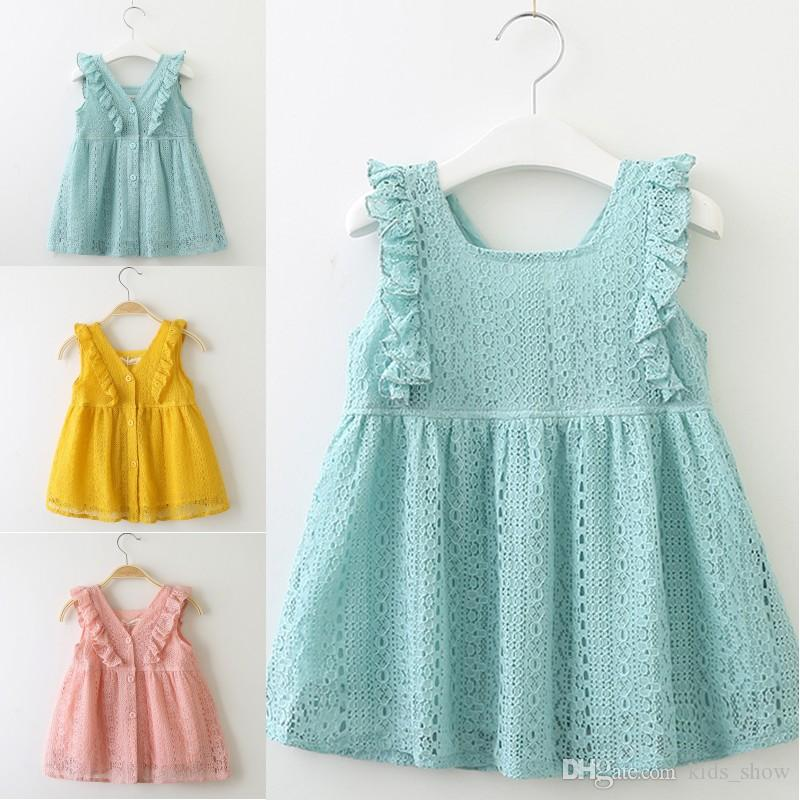 Neonate Summer Spring Dress Lace Princess Dress Lotus Leaf Edge Button Dress Abbigliamento per bambini