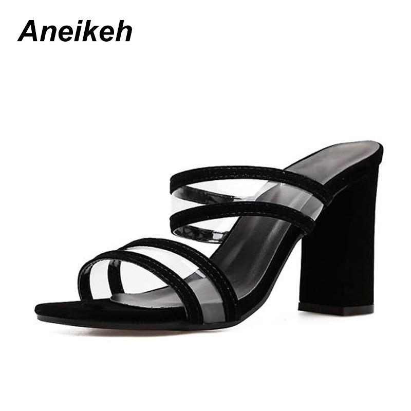 da4764f5d38 Aneikeh Sexy Women S Slippers Classic Flock Thick With Heel Women High Heels  Summer Slippers Shoes Wear For Daily Or Outdoor Moccasins For Men Shoe Sale  ...