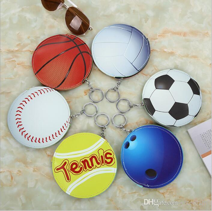 Baseball Coin Bags Purse Keychains Basketball Cartoon Wallet Pu Sports Pocket Change Money Bag Key Card Holder Pouch Headset Organizer B5017