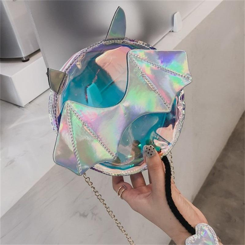 Chain Inclined Shoulder Bag Laser Transparent Round Mobile Phone Pack Cute Personality Women Storage Bags 10 05mj E1