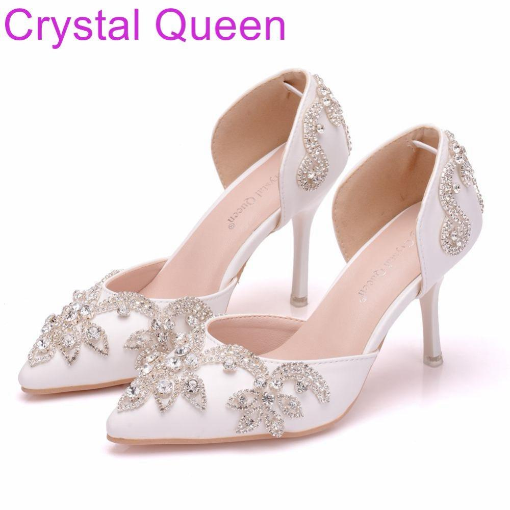 Wholesale Women Shoes Thin Heels Pointed Toe Shoes White Rhinestone Wedding  Bridals Shoes Plus Size 41 Online with  61.89 Pair on Shoes8800 s Store ... 4176f78621cc